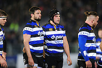 Elliott Stooke and Charlie Ewels of Bath Rugby look on prior to a scrum. Aviva Premiership match, between Bath Rugby and Northampton Saints on February 10, 2017 at the Recreation Ground in Bath, England. Photo by: Patrick Khachfe / Onside Images