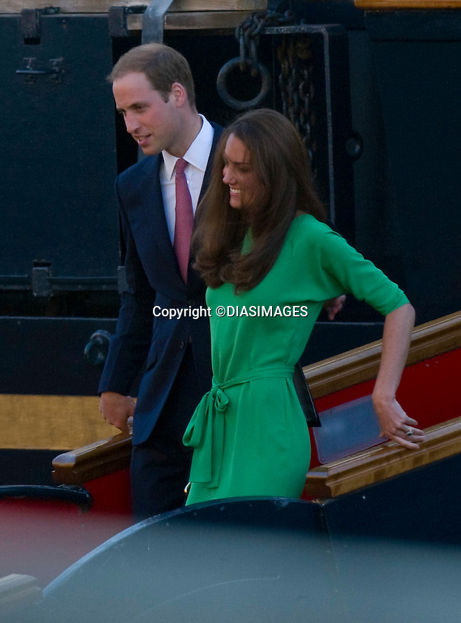 """PRINCE WILLIAM, THE DUKE OF CAMBRIDGE and CATHERINE, THE DUCHESS OF CAMBRIDGE..The Duke and Duchess are in high sprits as the celebrate with family and friends at the Pre-wedding party for Zara Phillips and Mike Tindall on the Royal Yacht Britannia. Royal Yacht Britannia, Leith, Edinburgh, Scotland_29/07/2011.Mandatory Credit Photo: ©DIASIMAGES..**ALL FEES PAYABLE TO: """"NEWSPIX INTERNATIONAL""""**..No UK Usage until 29/07/2011.IMMEDIATE CONFIRMATION OF USAGE REQUIRED:.DiasImages, 31a Chinnery Hill, Bishop's Stortford, ENGLAND CM23 3PS.Tel:+441279 324672  ; Fax: +441279656877.Mobile:  07775681153.e-mail: info@newspixinternational.co.uk"""
