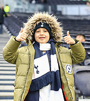 26th December 2019; Tottenham Hotspur Stadium, London, England; English Premier League Football, Tottenham Hotspur versus Brighton and Hove Albion; A young Spurs fan gives a thumbs up before the match - Strictly Editorial Use Only. No use with unauthorized audio, video, data, fixture lists, club/league logos or 'live' services. Online in-match use limited to 120 images, no video emulation. No use in betting, games or single club/league/player publications