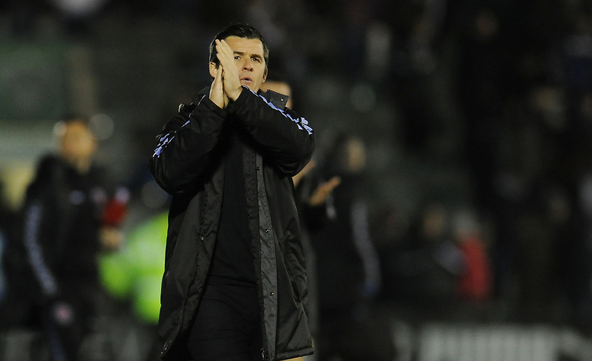 Fleetwood Town manager Joey Barton applauds the fans at full time<br /> <br /> Photographer Kevin Barnes/CameraSport<br /> <br /> The EFL Sky Bet League One - Plymouth Argyle v Fleetwood Town - Saturday 24th November 2018 - Home Park - Plymouth<br /> <br /> World Copyright © 2018 CameraSport. All rights reserved. 43 Linden Ave. Countesthorpe. Leicester. England. LE8 5PG - Tel: +44 (0) 116 277 4147 - admin@camerasport.com - www.camerasport.com