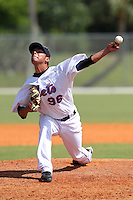 New York Mets minor league pitcher Jhonathan Torres #96 delivers a pitch during a spring training game vs the St. Louis Cardinals at the Roger Dean Complex in Jupiter, Florida;  March 24, 2011.  Photo By Mike Janes/Four Seam Images
