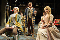 London, UK. 29.11.2013. CANDIDE opens at the Menier Chocolate Factory, directed by Matthew White and choreographed by Adam Cooper. Picture shows: David Thaxton (Maximilian), Fra Fee (Candide), James Dreyfus (Dr Pangloss), Cassidy Janson (Paquette) and Scarlett Strallen (Cunegonde). Photograph © Jane Hobson.