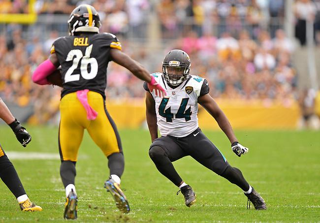 Jacksonville Jaguars linebacker Myles Jack (44) tracks down Pittsburgh Steelers running back Le'Veon Bell (26) in a NFL game Sunday, October 8, 2017 in Pittsburgh, Pa.  (Rick Wilson/Jacksonville Jaguars)