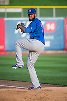 Iowa Cubs starting pitcher Carlos Pimentel (27) warms up in the bullpen before the game against the Salt Lake Bees in Pacific Coast League action at Smith's Ballpark on August 20, 2015 in Salt Lake City, Utah. The Cubs defeated the Bees 13-2   (Stephen Smith/Four Seam Images)