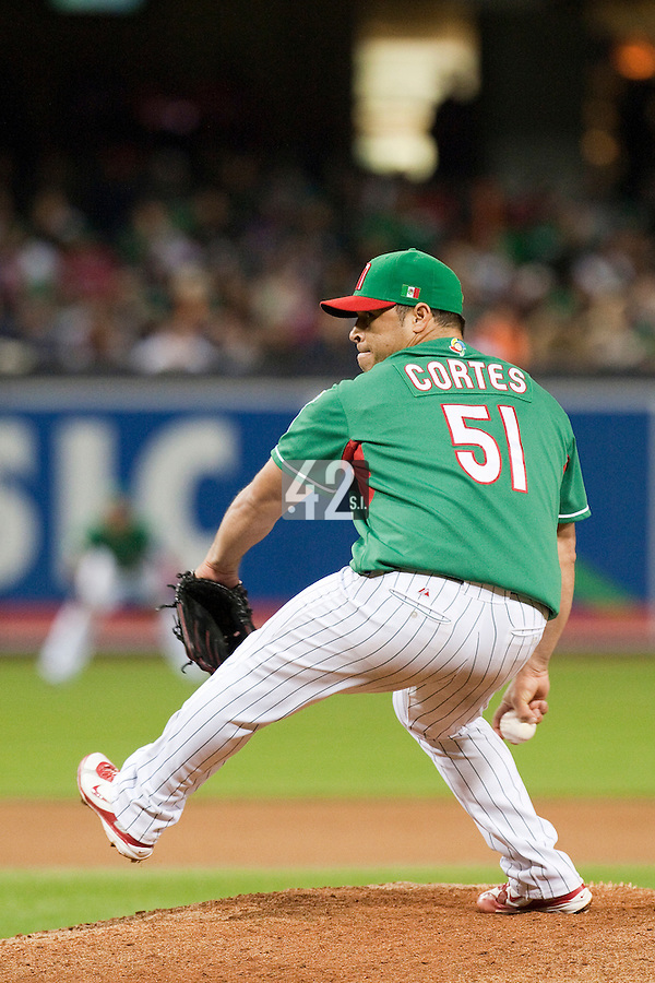 15 March 2009: #51 David Cortes of Mexico pitches against Korea during the 2009 World Baseball Classic Pool 1 game 2 at Petco Park in San Diego, California, USA. Korea wins 8-2 over Mexico.