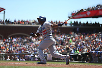 SAN FRANCISCO, CA - MAY 17:  Yasiel Puig #66 of the Los Angeles Dodgers bats against the San Francisco Giants during the game at AT&T Park on Wednesday, May 17, 2017 in San Francisco, California. (Photo by Brad Mangin)