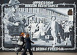 A murals on the Falls Road, Belfast. This one tells the story of the curfew that was not obeyed by the women of the communities.