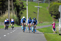 Waikato Diocesan (left) and St Peter's College u20 girls in action during the 2017 NZ Schools Road Cycling championships day one team time trials at Koputaroa Road near Levin, New Zealand on Saturday, 30 September 2017. Photo: Dave Lintott / lintottphoto.co.nz