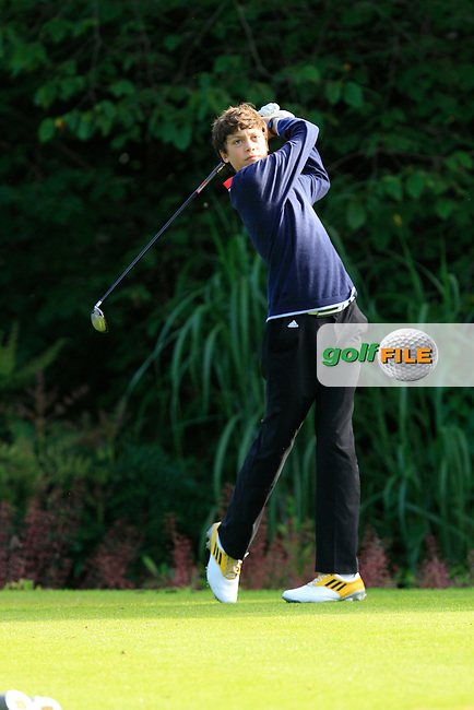 James McCormick (Grange) on the 1st tee during Round 1 of the Grange Dublin Boys on Monday 21th July 2014.<br />
