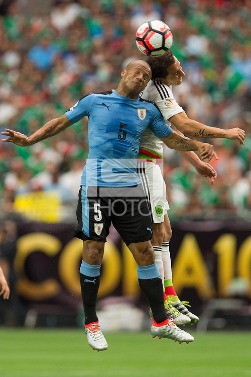 Action photo during the match Mexico vs Uruguay, Corresponding Group -C- America Cup Centenary 2016, at University of Phoenix Stadium<br /> <br /> Foto de accion durante el partido Mexico vs Uruguay, Correspondiante al Grupo -C-  de la Copa America Centenario USA 2016 en el Estadio de la Universidad de Phoenix, en la foto: (i-d) Carlos Sanchez de Uruguay y Andres Guardado de Mexico<br /> <br /> <br /> 05/06/2016/MEXSPORT/Jorge Martinez.