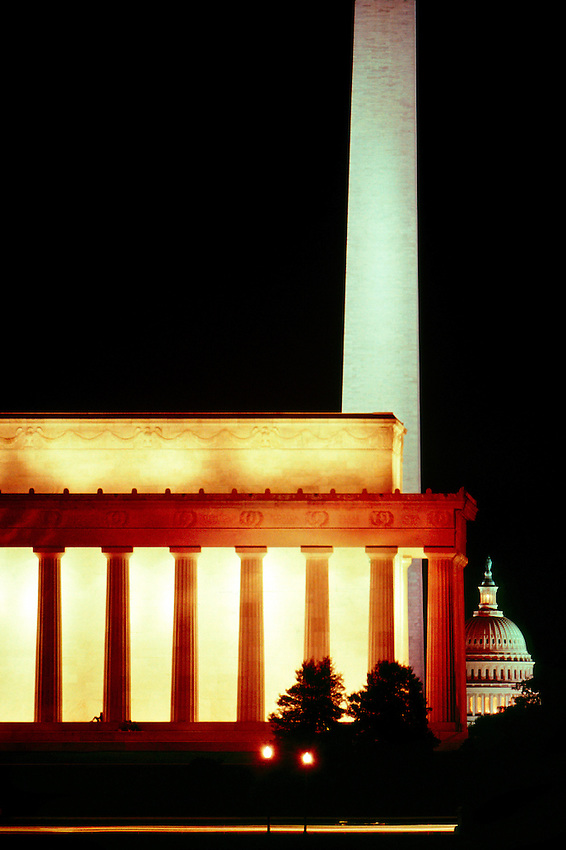 the Lincoln Memorial, Washington Monument and United States Capitol at night, Washington D.C.