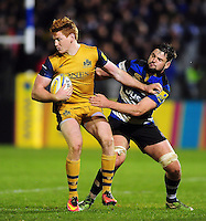 Jack Tovey of Bristol Rugby fends Elliott Stooke of Bath Rugby. Aviva Premiership match, between Bath Rugby and Bristol Rugby on November 18, 2016 at the Recreation Ground in Bath, England. Photo by: Patrick Khachfe / Onside Images