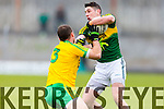 Paul Geaney Kerry in action against Neil McGee Donegal in Division One of the National Football League at Austin Stack Park Tralee on Sunday.