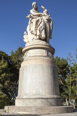 Lord Byron statue by French sculptors Henri-Michel Chapu and Alexandre Falguiere, National Gardens, Athens, Greece <br /> CAP/MEL<br /> &copy;MEL/Capital Pictures /MediaPunch ***NORTH AND SOUTH AMERICA ONLY***