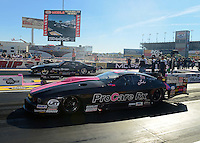 Oct. 27, 2012; Las Vegas, NV, USA: NHRA pro mod driver Leah Pruett (near lane) races alongside Donnie Martin during qualifying for the Big O Tires Nationals at The Strip in Las Vegas. Mandatory Credit: Mark J. Rebilas-
