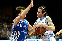 GRONINGEN - Basketbal, Donar - Landstede Zwolle, Martiniplaza, Dutch Basketbal league, seizoen 2018-2019, 02-02-2019, Donar speler Shane Hammink met Landstede speler Noah Dahlman