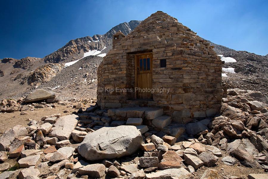 John Muir hut at 11,955 ft along the John Muir Trail in the eastern Sierras