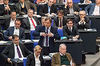 Debatte im Deutschen Bundestag am Donnerstag den 19. April 2018 zum Antrag der rechtsnationalistischen &quot;Alternative fuer Deutschland&quot;, AfD, zur Einsetzung einer Enquete-Kommission: Direkte Demokratie.<br /> Im Bild: Bernd Baumann, parlamentarischer Geschaeftsfuehrer der AfD bei einem Zwischenruf waehrend der Debatte.<br /> 19.1.2018, Berlin<br /> Copyright: Christian-Ditsch.de<br /> [Inhaltsveraendernde Manipulation des Fotos nur nach ausdruecklicher Genehmigung des Fotografen. Vereinbarungen ueber Abtretung von Persoenlichkeitsrechten/Model Release der abgebildeten Person/Personen liegen nicht vor. NO MODEL RELEASE! Nur fuer Redaktionelle Zwecke. Don't publish without copyright Christian-Ditsch.de, Veroeffentlichung nur mit Fotografennennung, sowie gegen Honorar, MwSt. und Beleg. Konto: I N G - D i B a, IBAN DE58500105175400192269, BIC INGDDEFFXXX, Kontakt: post@christian-ditsch.de<br /> Bei der Bearbeitung der Dateiinformationen darf die Urheberkennzeichnung in den EXIF- und  IPTC-Daten nicht entfernt werden, diese sind in digitalen Medien nach &sect;95c UrhG rechtlich geschuetzt. Der Urhebervermerk wird gemaess &sect;13 UrhG verlangt.]