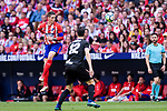 Fernando Torres of Atletico de Madrid (L) heads the ball during the La Liga match between Atletico Madrid and Eibar at Wanda Metropolitano Stadium on May 20, 2018 in Madrid, Spain. Photo by Diego Souto / Power Sport Images