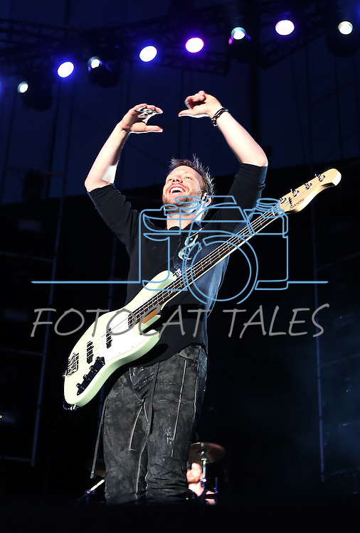 Imagine Dragons' Ben McKee performs at Harveys Lake Tahoe Outdoor Arena in Stateline, Nev., on Saturday, July 18, 2015. <br /> Photo by Cathleen Allison