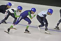 SPEEDSKATING: CALGARY: 15-11-2015, Olympic Oval, ISU World Cup, Mass Start Men, Fabio Francolini (ITA), Arjan Stroetinga (NED), Bart Swings (BEL), ©foto Martin de Jong