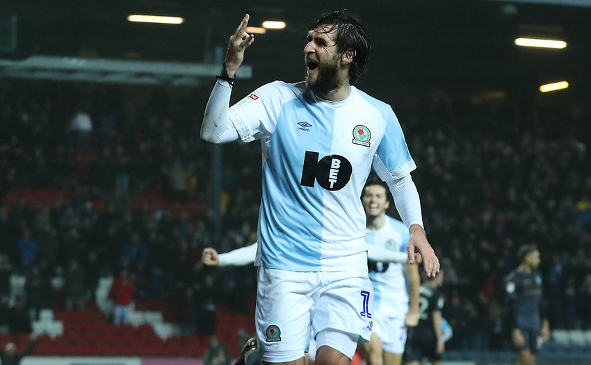Blackburn Rovers' Danny Graham celebrates scoring his sides forth goal with his fellow team mates <br /> <br /> Photographer Rachel Holborn/CameraSport<br /> <br /> The EFL Sky Bet Championship - Blackburn Rovers v Sheffield Wednesday - Saturday 1st December 2018 - Ewood Park - Blackburn<br /> <br /> World Copyright © 2018 CameraSport. All rights reserved. 43 Linden Ave. Countesthorpe. Leicester. England. LE8 5PG - Tel: +44 (0) 116 277 4147 - admin@camerasport.com - www.camerasport.com
