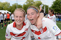 20170514 - LILLE , FRANCE : LOSC's Silke Demeyere and Jana Coryn  pictured celebrating the Championship title after their win in the 21 st competition game between the women teams of Lille OSC and La Roche Sur Yon in the 2016-2017 season of the Second Division A D2F A at stade Lille Metropole , Saturday 14th May 2017 ,  PHOTO Joke Vuylsteke | Sportpix.Be