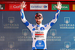 Thomas De Gendt (BEL) Lotto-Soudal retains the mountains Polka Dot Jersey at the end of Stage 17 of the La Vuelta 2018, running 186.1km from Ejea de los Caballeros to Lleida, Spain. 13th September 2018.                   <br /> Picture: Unipublic/Photogomezsport | Cyclefile<br /> <br /> <br /> All photos usage must carry mandatory copyright credit (&copy; Cyclefile | Unipublic/Photogomezsport)