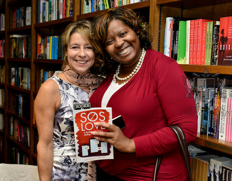 """CORAL GABLES, FLORIDA - JANUARY 29: Liane Sangollo greets fans and signs copies of her book """"SOS Love: 5 Realities of Online Dating Dependence"""" at Books and Books on January 29, 2016 in Coral Gables, Florida.  ( Photo by Johnny Louis / jlnphotography.com )"""