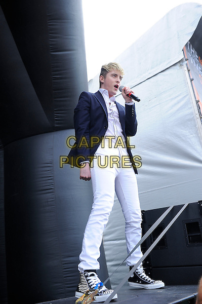 GUILDFORD, ENGLAND - JULY 19: Jedward performs live at Guilfest, Stoke Park, Guildford on July 19, 2014 in Guildford, England.<br /> CAP/MAR<br /> &copy; Martin Harris/Capital Pictures