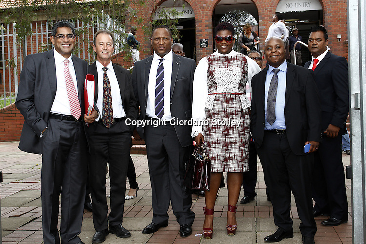 DURBAN - Shauwn Mpisane (glasses) stands with her legal team and her husband after charghes were withdran in the Pinetown Magistrate's Court. Earlier she was acquitted of 119 fraud charges in the Durban regional court. From left are advocates Rafik Bhana and Jimmy Howse, her husban Sbu Mpisane and on her other side are lawyer Rafik Bhana and an unnamed bodyguard. Picture: Allied Picture Press/APP