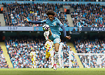 Leroy Sane of Manchester City leaps up to control the ball during the English Premier League match at the Etihad Stadium, Manchester. Picture date: May 6th 2017. Pic credit should read: Simon Bellis/Sportimage