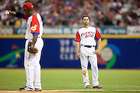 9 March 2009: #15 Carlos Beltran looks dejected during the 2009 World Baseball Classic Pool D game 4 at Hiram Bithorn Stadium in San Juan, Puerto Rico. Puerto Rico wins 3-1 over Netherlands