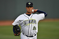 Pitcher Joel Huertas (26) of the Columbia Fireflies warms up before a game against the Lakewood BlueClaws on Friday, May 5, 2017, at Spirit Communications Park in Columbia, South Carolina. Lakewood won, 12-2. (Tom Priddy/Four Seam Images)