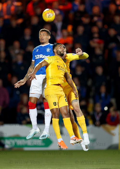 25.09.2018 Livingston v Rangers: James Tavernier with Aymen Souda and Lyndon Dykes