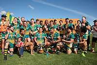 The Mid Canterbury team celebrates winning the Mitre 10 Heartland Championship Lochore Cup rugby final between Mid Canterbury and West Coast at Methven Domain in Methven, New Zealand on Sunday, 29 October 2017. Photo: Martin Hunter / lintottphoto.co.nz