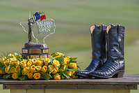The trophy and boots Andrew Landry (USA) received after winning the Valero Texas Open, AT&amp;T Oaks Course, TPC San Antonio, San Antonio, Texas, USA. 4/22/2018.<br /> Picture: Golffile | Ken Murray<br /> <br /> <br /> All photo usage must carry mandatory copyright credit (&copy; Golffile | Ken Murray)