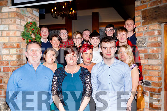 Terry Healy, front Lt, of Terry's butchers,celebrated with his staff their Christmas party last Saturday night Dec 14 in the Meadowlands hotel, Tralee.