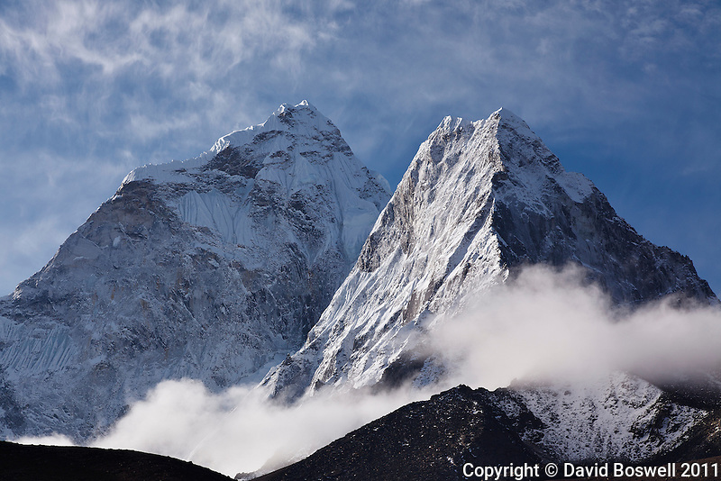 The summit of Ama Dablam in the early morning light, taken from the village of Dingboche in the Himalayan Mountains of Nepal.