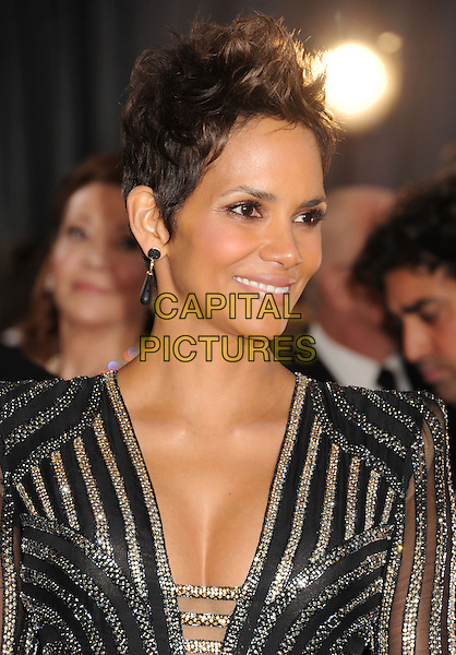 Halle Berry.85th Annual Academy Awards held at the Dolby Theatre at Hollywood & Highland Center, Hollywood, California, USA..February 24th, 2013.oscars headshot portrait black gold silver striped stripes cleavage.CAP/ROT/TM.©Tony Michaels/Roth Stock/Capital Pictures