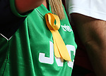 An Arsenal fan wears a yellow ribbon during the FA Cup Semi Final match at Wembley Stadium, London. Picture date: April 23rd, 2017. Pic credit should read: David Klein/Sportimage