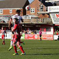 Sam Jones of Grimsby Town heads forward <br /> during the Sky Bet League 2 match between Accrington Stanley and Grimsby Town at the Fraser Eagle Stadium, Accrington, England on 25 March 2017. Photo by Tony  KIPAX / PRiME Media Images.