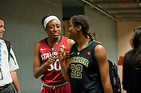 DENVER, CO--Nneka Ogwumike speaks with Baylor's Brooklyn Pope during media day at the Pepsi Center for the 2012 NCAA Women's Final Four in Denver, CO.