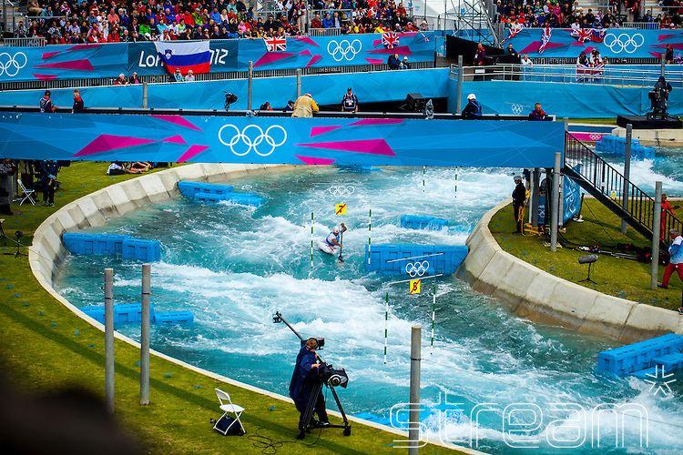 An athlete in the canoe slalom at the Lee Valley White Water Park, London 2012