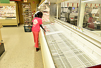 MIRAMAR, FL - OCTOBER 06: Empty shelve inside at Publix supermarket in Miramar, Florida in preparation for the landfall of Hurricane Matthew on October 6, 2016 in Miramar, Florida. The hurricane is expected to make landfall sometime this evening or early in the morning as a possible category 4 storm.Credit: MPI10 / MediaPunch