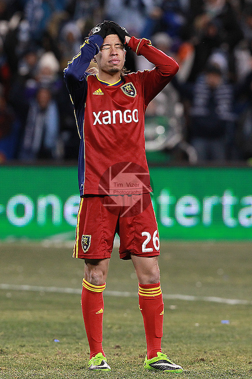 Real Salt Lake midfielder Sebastian Velasquez (26) reacts after he didn't score a goal during shootouts. Sporting KC defeated Real Salt Lake in a shootout after the score was tied 1-1 at the end of regulation play in the MLS Cup 2013 championship held at Sporting Park in Kansas City, Kansas on Saturday December 7, 2013.