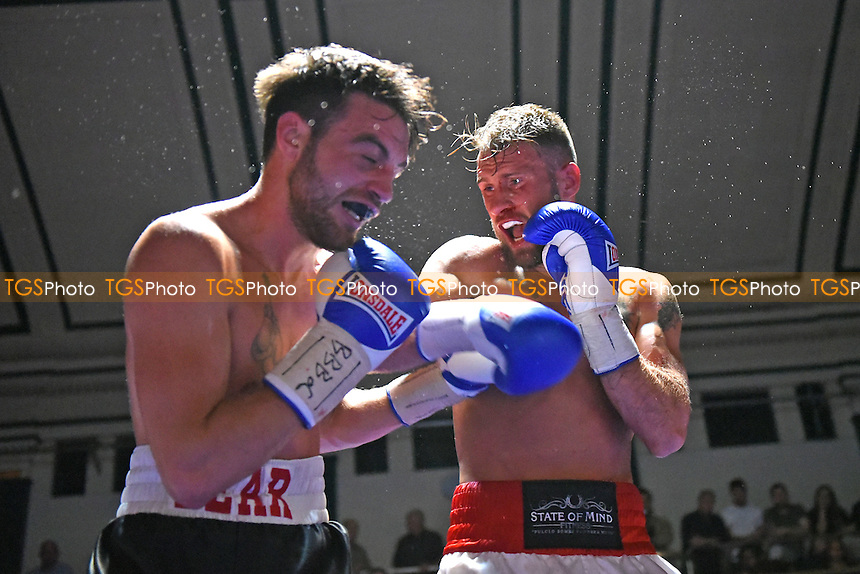 John O'Donnell (red shorts) defeats Tommy Tear during a Boxing Show at York Hall on 1st October 2016