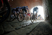 peloton through the tunnel on top of Casselberg<br /> <br /> Gent-Wevelgem 2014