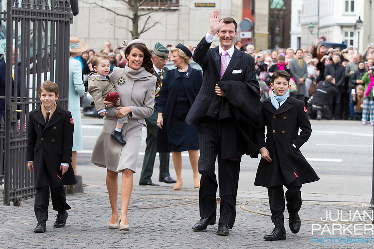 Prince Joachim, and Princess Marie of Denmark, with Prince Henrik, and Joachims sons, Prince Nikolai, and Prince Felix. attend.The Christening of the Danish Royal Twins, at Holmens Church, Copenhagen..The twins were christened, Prince Vincent Frederik Minik Alexander and Princess Josephine Sophia Ivalo Mathilda