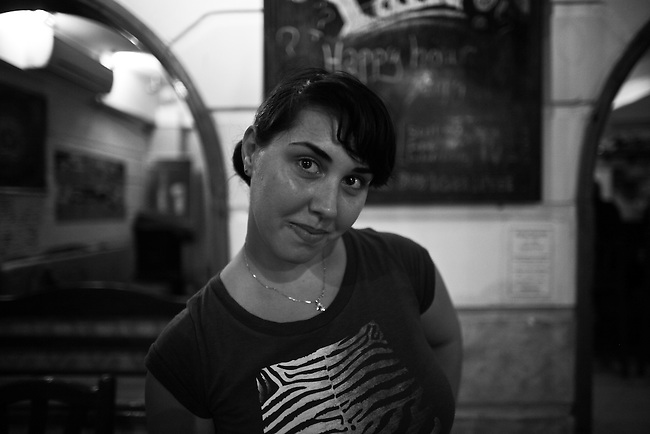 Lana, a Russian bartender, poses for a portrait  in Dahab, Egypt. Sept. 25, 2009.